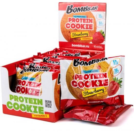 BOMBBAR Протеиновое печенье 60г, Клубника