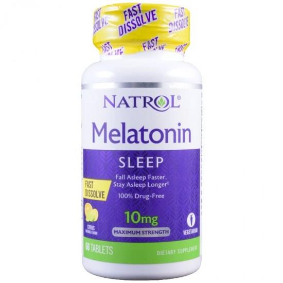 NATROL Melatonin Fast Dissolve 10mg 60таб, Цитрус