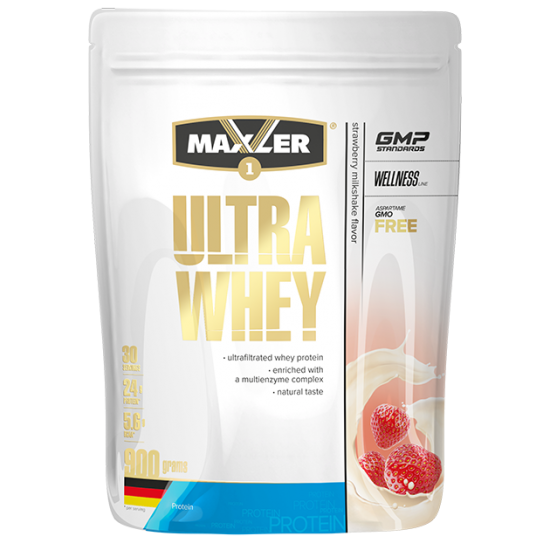 MAXLER ULTRA WHEY 900г, Молочный коктейль с клубникой