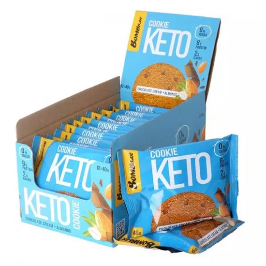 BOMBBAR KETO Cookie 40г, Шоколад с миндалем