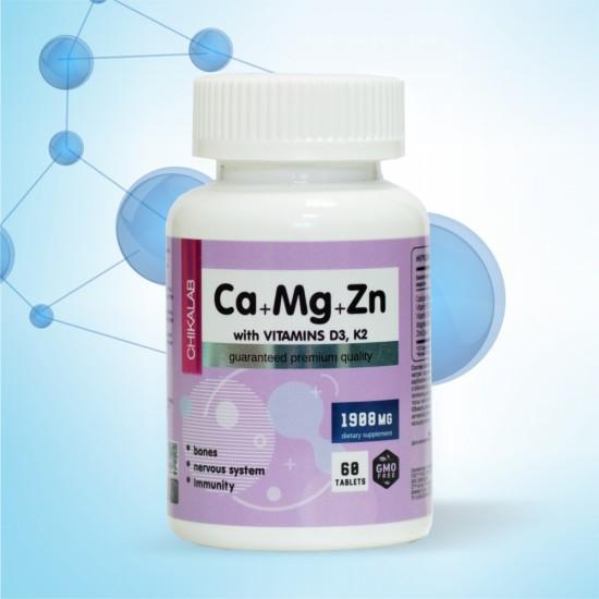 CHIKALAB Ca+Mg+Zn, D3, K2 60табл,