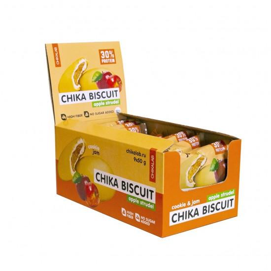 CHIKALAB Печенье неглазированное с начинкой 50 гр, Бисквит яблочный штрудель