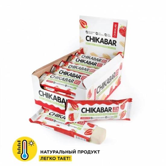 CHIKALAB Протеиновый батончик CHIKABAR 60г, Клубника со сливками