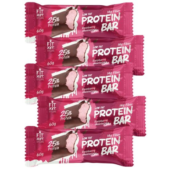 FIT KIT Protein Bar 60г, Малиновый чизкейк