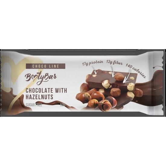 BOOTYBAR CHOCO LINE протеиновый батончик 50г, Шоколад с фундуком
