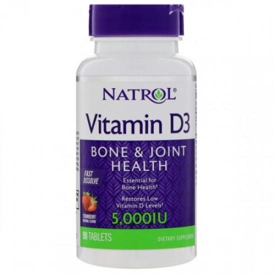 NATROL Vitamin D3 Fast Dissolve 5,000IU 90таб