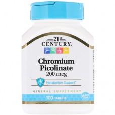 21ST CENTURY Chromium Picolinate 200mcg 100 табл